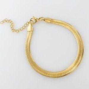 NEW 18K Gold Stainless Steel Herringbone Bracelet